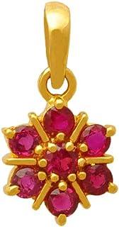 Lagu Bandhu 18k (750) Yellow Gold and Ruby Pendant for Women