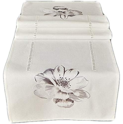 Raebel - Tovaglia centrotavola, runner da tavola con motivo floreale, colore bianco e grigio, ricamo 3D, 100% poliestere (40 x 140 cm)