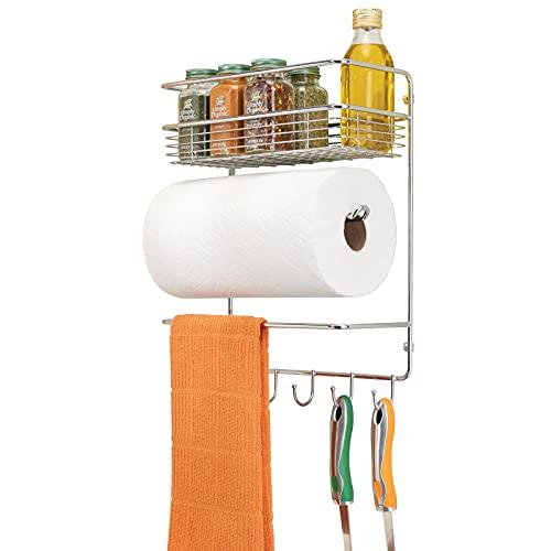 mDesign Portarotolo cucina – Porta rotolo da parete con ripiano per spezie integrato e ganci – Utile e decorativo accessorio per cucina in metallo – argento