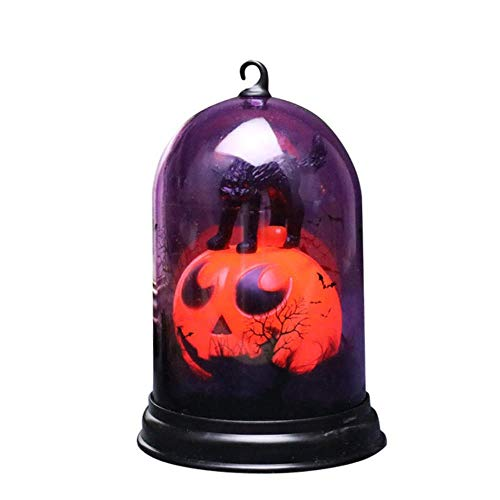ASHX LED Pumpkin Light Lamp Home Garden Party Outdoor Decoration Lantern Light New Hooded Scary Skull Lamp,9x14cm