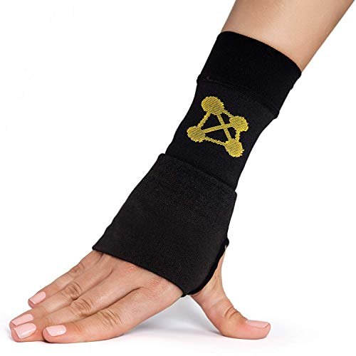 CopperJoint Copper Wrist Support, 1 Compression Sleeve - Guaranteed Recovery from Pain, Sprains, Carpal Tunnel, Bursitis, Tendonitis, Arthritis - Single Brace (Left - Medium)
