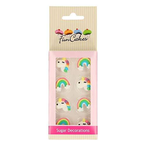FunCakes Decoraciones de Azúcar Unicornio y Arcoíris Listo Para ser Usar en la Decoración de Tartas, Perfecto para Cupcakes Temáticas y más, Certificado Sin Gluten, Set/8
