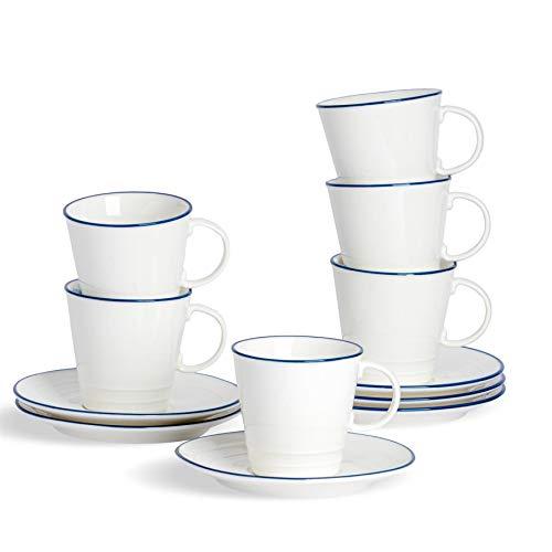 Nicola Spring Juego de Tazas para café o té y platillos - Estilo rústico - Blanco/Azul - 250ml - Pack de 12