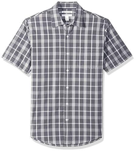 Amazon Essentials Slim-Fit Short-Sleeve Shirt Button-Down-Shirts, carbón a Cuadros, US M (EU M)
