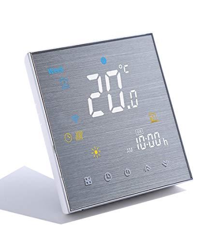 Smart WiFi Thermostat Temperaturregler für Fußbodenheizung elektrisch arbeiten mit Amazon Alexa Google Home IFTTT 16A, Innovation Gebürstete Platte(Einstellbare Helligkeit)