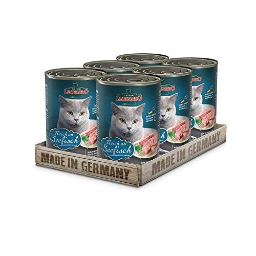Leonardo Nassfutter [6x400g Seefisch] | Getreidefreies Nassfutter für Katzen | Feuchtfutter Alleinfutter aus der Dose