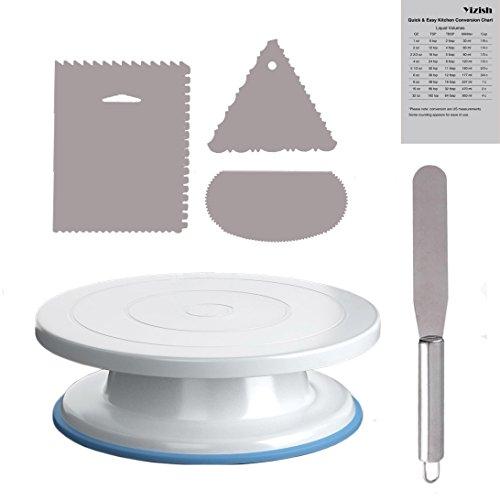 Yizish 2 Tocadiscos con soporte giratorio de 11 pulgadas con espátula de acero inoxidable y alisador de glaseado (3 piezas) para hornear, decoración de pasteles, pasteles y cupcakes, plástico
