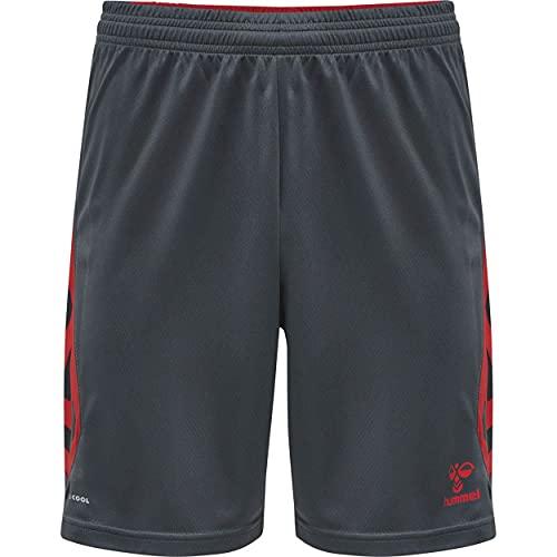 hummel hmlACTION Poly Shorts Pantalones Cortos, Ebony/Flame Scarlet, XX-Large Unisex Adulto