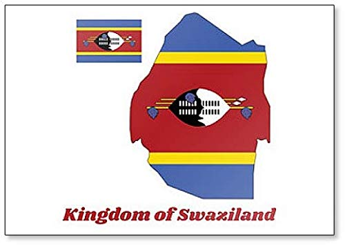 Kühlschrankmagnet, Karte & Flagge von Swasiland