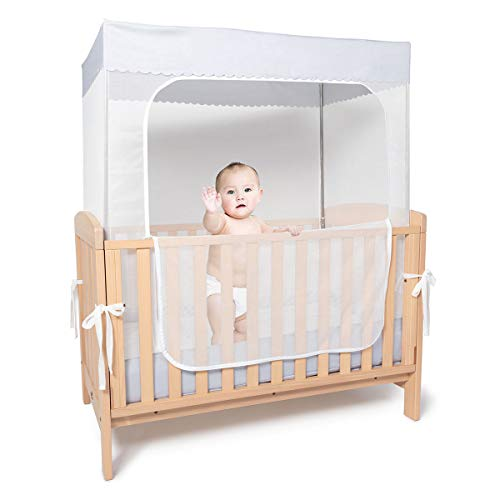 YeTrini Crib Netting,Sturdy Baby Safety Crib Tent to Keep Baby from Climbing Out,Protect Your Baby from Falls(Gray)