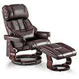 Mcombo Recliner with Ottoman Reclining Chair with Vibration Massage and Lumbar Pillow, 360 Degree Swivel Wood Base, Faux Leather 9068 (Dark Brown)
