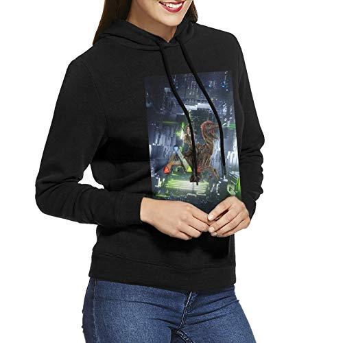 Damen Hoodie Mantel Ark Sur-Vival Evo-Lved Mode Casual Baumwolle Langarm Pullover SweatshirtSchwarz Gr. L, Schwarz