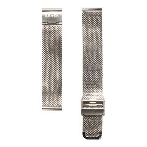 KRAEK Pulsera de malla plateada con cierre rápido, 18 mm, fácil clic, correas de reloj auténticas.