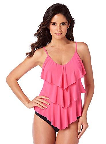 Magicsuit Women's Swimwear Solid Rita V-Neck Tankini Top with Soft Cup Bra and Adjustable Straps, Watermelon, 10