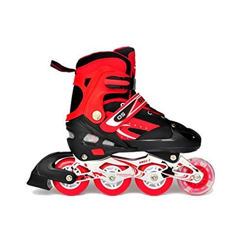 Taoke Inline-Skates, Erwachsene Männer und Frauen einreihig Skates Kind Einstellbare Roller Skates Vorderrad Flash (Farbe: Rot, Größe: L (39-42 Meter)) dongdong (Color : Red, Size : L (3942 Yards))