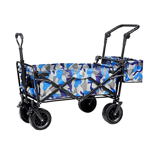 Outdoor Folding Utility Wagon Practical Family Shopping Cart, Outdoor Garden Pull Wagon, All Terrain Camping Transport Vehicle, Load-Bearing 100kg / 220lbs, 3 Colors (Color : Style 3)