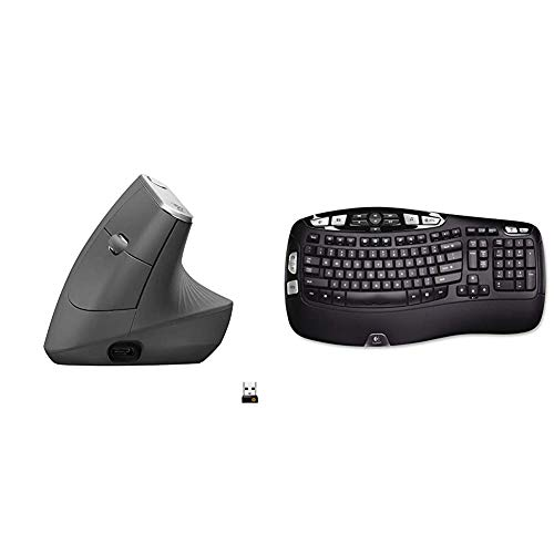 Logitech MX Vertical Wireless Mouse, Graphite & K350 Wireless Wave Keyboard with Unifying Wireless Technology - Black