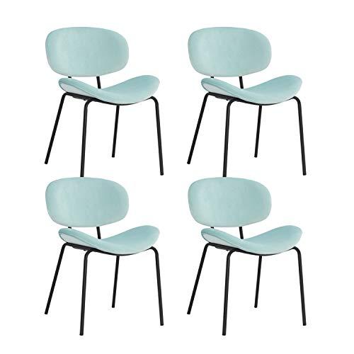 MIFI Set di 4 sedie da Pranzo Sedie da Pranzo retrò Vintage Sedie Trucco Cuscini Morbidi in Velluto Sedile e Schienale con Gambe in Metallo Sedie da Cucina per Sala da Pranzo e Soggiorno, Verde