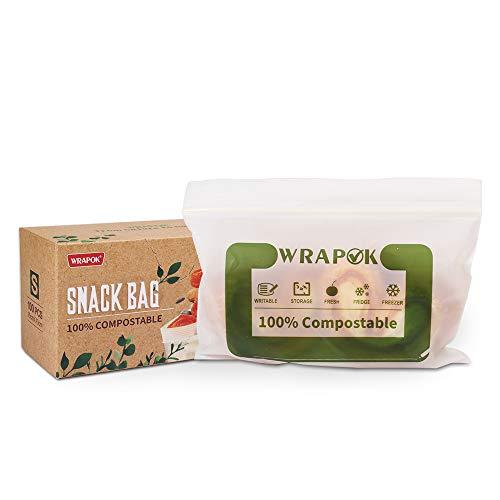 WRAPOK 100 % kompostierbare Snackbeutel, klein, biologisch abbaubar, Sandwich-Gefrierbeutel für Kekse, 100 Stück