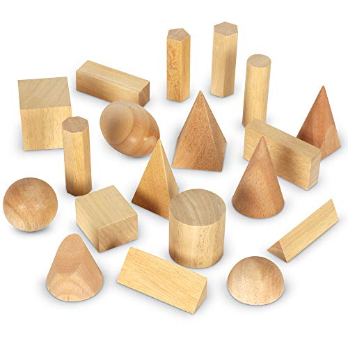 Learning Resources LER4298 Wood Geometric Solids, Set of 19