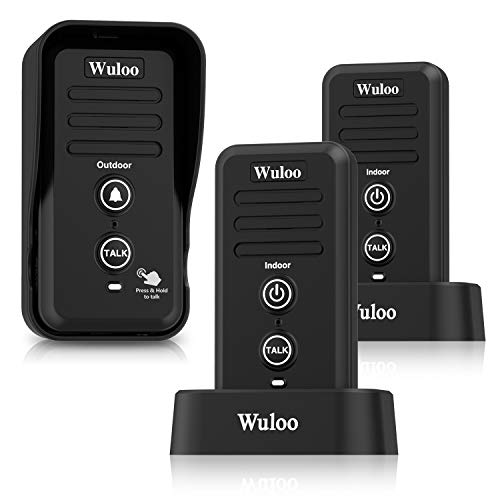 Wuloo Wireless Intercom Doorbells for Home Classroom, Intercomunicador Waterproof Electronic Doorbell Chime with 1 2 Mile Range 3 Volume Levels Rechargeable Battery Including Mute Mode(Black, 1&2)