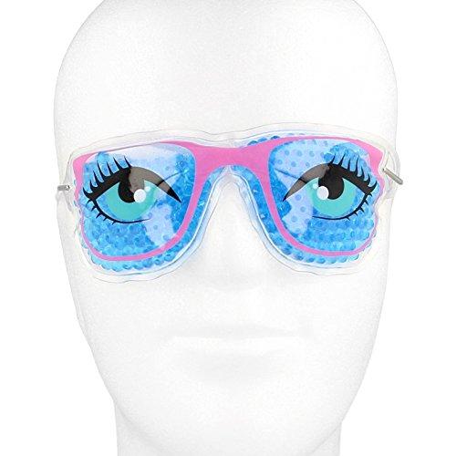 Kühlbrille für Augen mit farbigen Gel-Perlen - Kühlmaske Augenkühlung lustige Kompressen Augenkühlmaske geschwollene Augen kühlende Augenmaske (Blau - beide Augen auf)