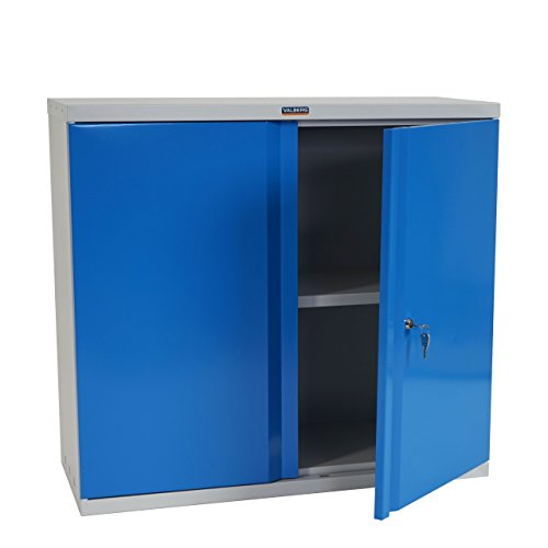Valberg Aktenschrank T330, Metallschrank Büroschrank Stahlschrank, 2 Türen 84x92x37cm - blau