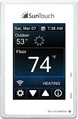 SunTouch Connect WiFi enabled Touchscreen Programmable Thermostat [universal] Model 500875 (low-profile floor heat control, 120/240V, bright white + paintable beauty ring) includes floor sensor