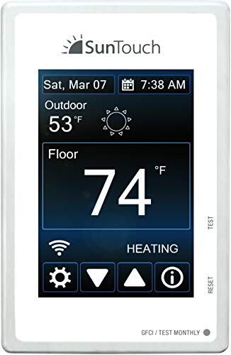 SunTouch Connect WiFi-Enabled 500875-SB Universal Touchscreen Programmable Thermostat, (120/240V), Bright White, Model 500875