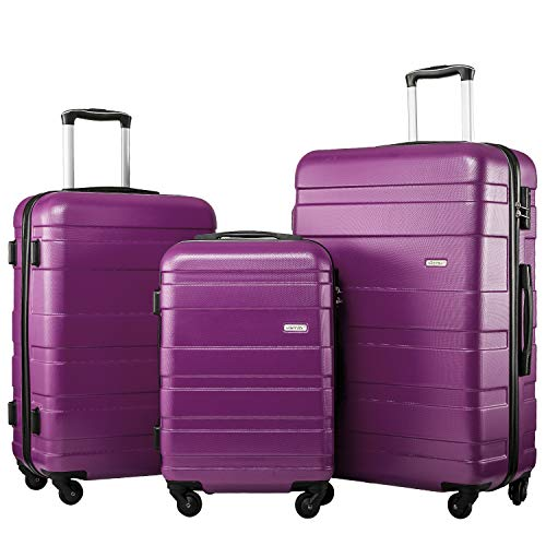 Merax Set of 3 Luggage Lightweight Hard Shell 4 wheel Travel Trolley Suitcase Set Holdall Case-20/24/28 inches (Purple)