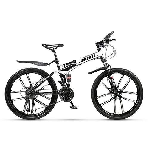 QXue 24 Inches Mountain Bike for Men and Women, High Carbon Steel Dual Suspension Frame Mountain Bike Ten Knife Wheel Folding Outroad Bike,White,27 Speed