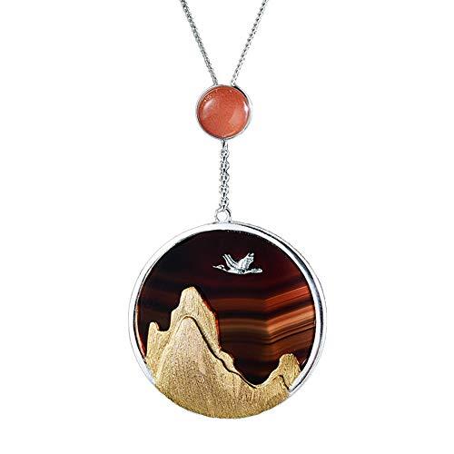 UPANV Collar con Dije De Picos De La Cordillera De La Cordillera De Plata Esterlina S925 con Puesta De Sol De Piedra Lunar, Cadena De 17',Oro