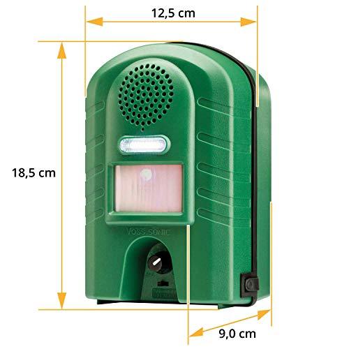 VOSS.sonic Ultraschall Vertreiber mit Bewegungsmelder & Blitz - Marderschreck, Katzenschreck, Tierschreck, Waschbären inkl. Netzteil und Erdstab - 5
