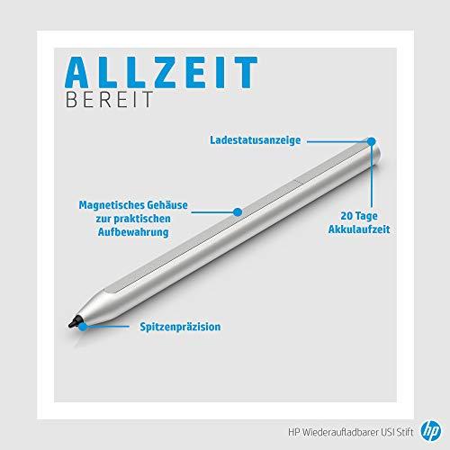 HP USI Pen Digitaler Eingabestift (aufladbar über USB-C; lange Akkulaufzeit, Ladestandanzeige, 2 Ersatz-Stiftspitzen, magnetischer Schaft) silber - 4