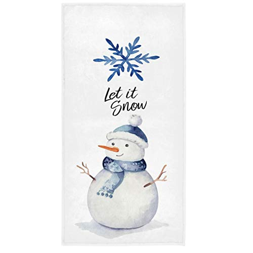 Vdsrup Winter Holiday Snowflakes Hand Towels Funny Snowman Christmas Xmas Bath Kitchen Towels Absorbent Soft Multipurpose Towels for Bathroom,Hotel,Gym and Spa,30 X 15 Inch