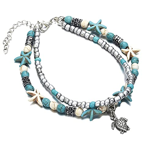 2 Pc Boho Layered Starfish Anklet Turquoise, Adjustable Sea Turtle Anklet Magical Beach Anklet Bracelet Jewelry Brings Good Luck for Women Girl