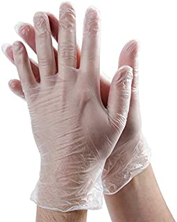 Rubber Gloves Disposable Latex Free: Clear Vinyl Gloves for Cleaning, Cooking, Hair Coloring, Dishwashing, Food Handling and Food Service, Allergy Free Plastic Gloves Medium (Box of 100)