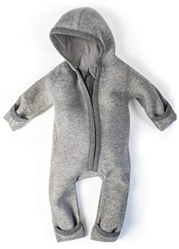 Ehrenkind® WALKOVERALL | Baby Wollwalk-Overalls aus Natur Schurwolle mit Reißverschluss | Walk Wolle Woll-Anzug für Kleinkind und Baby | Grau Gr. 50/56