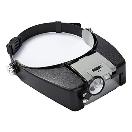 LED Lupenbrille Kopflupe mit Licht ,1.5x bis 8x abnehmbare Linsen – Kopfbandlupe Stirnlupe Brillenlupe mit beleuchtung für Brillenträger, Lesen, Handwerk, Juweliere, Nähen,elektro und Reparatur Hobby