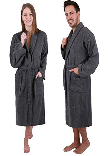 Betz Bademantel mit Schalkragen Madrid für Damen und Herren 100% Baumwolle Größen S-XXL Größe L - anthrazit