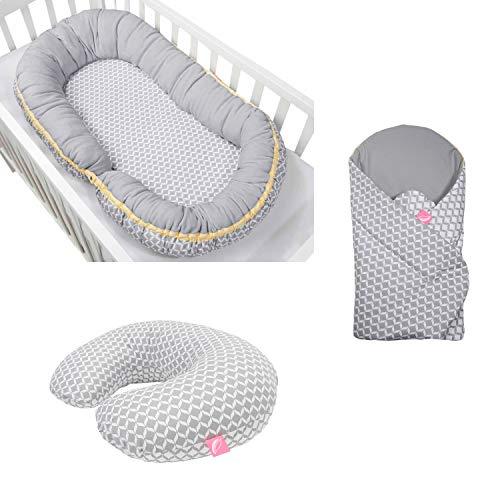 Erstlingsset Motherhood: Babynest + Stillkissen + Einschlagdecke soft - grau classics