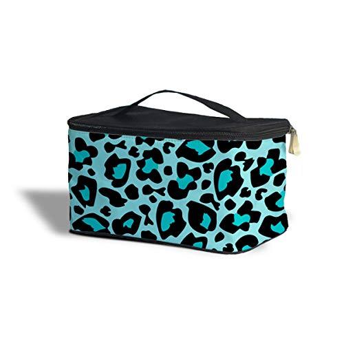 Lumineux étui de rangement de maquillage Imprimé léopard – Maquillage à fermeture Éclair Sac de voyage, Polyester, bleu sarcelle, One Size Cosmetics Storage Case
