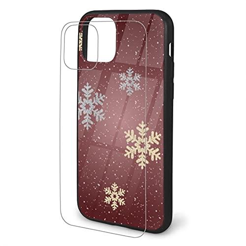 Funda para iPhone 11, diseño elegante y resistente a los arañazos, diseño de copos de nieve de color dorado y plateado