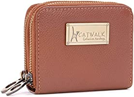 CATWALK COLLECTION HANDBAGS - ISLA - Ladies Small Organiser Zip Purse with Gift Box - Leather RFID Protection - Credit...
