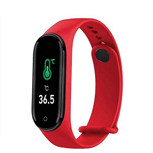 DUTUI Sportuhr, Multisportmodus-Kalorienverbrauchsuhr wasserdichte Bluetooth-Uhr, Angenehm Zu Tragen,Rot