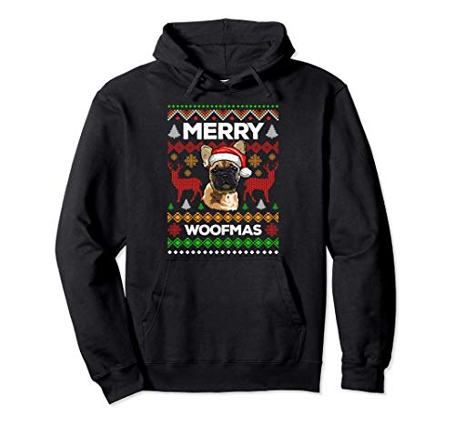 Merry Woofmas Ugly Sweater Christmas French Bulldog Lover Pullover Hoodie