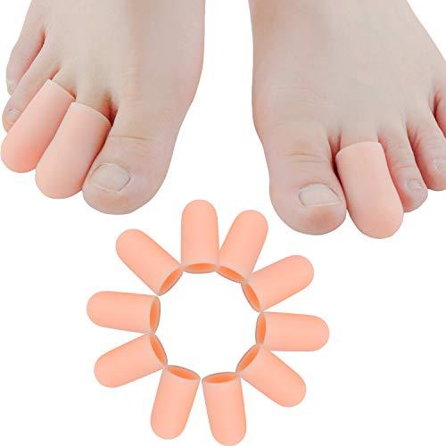 Sumifun--10 Stücke 100{114cf865d9f144e65031a462ae29be75244dc57914cafd8681c9d0235d7be780} Gel Zehenkappen mit komfortablen und weichen Schutzmaterialien, Schutz vor Blasenbildung, geeignet für den großen und kleinen Zeh (Pink-10Psc One Size)