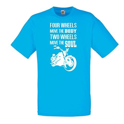lepni.me Camisetas Hombre Dos Ruedas mueven el Alma - Refranes de los Amantes de Las Motos, Ropa de Motocicleta (XX-Large Azul Multicolor)