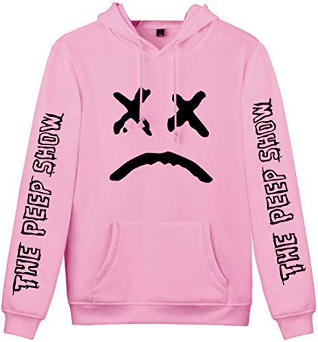 OLPHEE Sweater Capuche Femme Unisexe Hoodie Inspiré de Lil Peep Rap Hip-Pop Sweat-Shirt Figure Rose XL