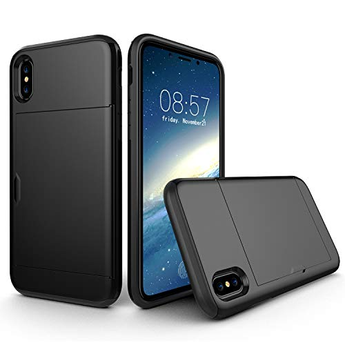 Suhctup Diseñada para iPhone XS Max funda Slide Armor Wallet Slot Card Holder Cover, capacidad 2 tarjetas de crédito ultra resistente cartera antigoteo Case - Negro